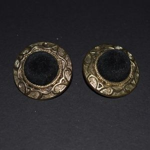 Vintage 80's Black Velvet Gold Clip On Earrings